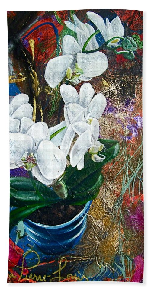 Orchid Beach Towel featuring the painting Orchid You by Laura Pierre-Louis