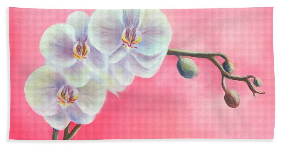 Orchids Paintings And Prints Beach Towel featuring the painting Orchids by Gabriela Valencia