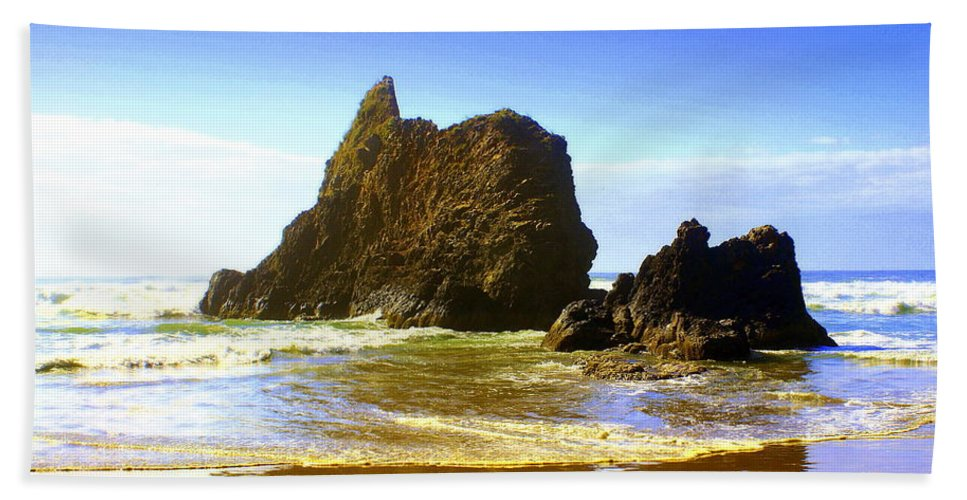 Ocean Beach Towel featuring the photograph Oregon Coast 16 by Marty Koch