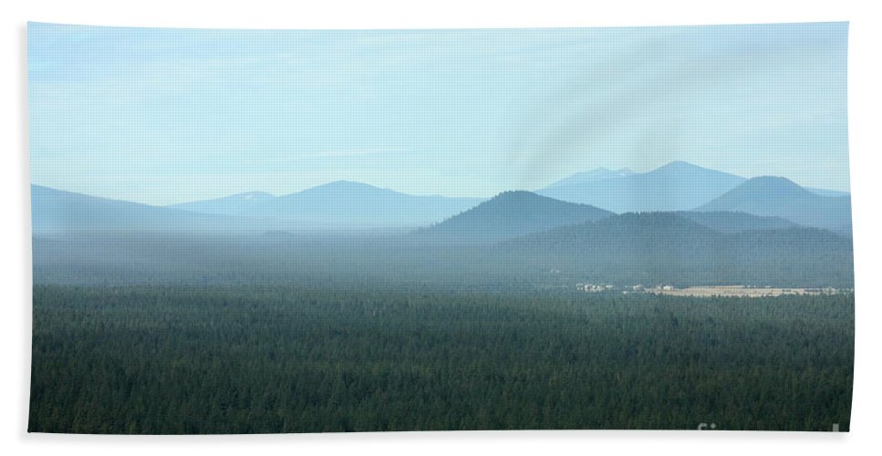 Oregon Landscape Beach Towel featuring the photograph Oregon Misty Mountains by Carol Groenen