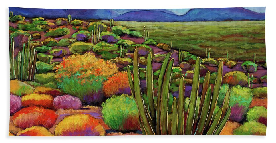 Desert Landscape Beach Towel featuring the painting Organ Pipe by Johnathan Harris