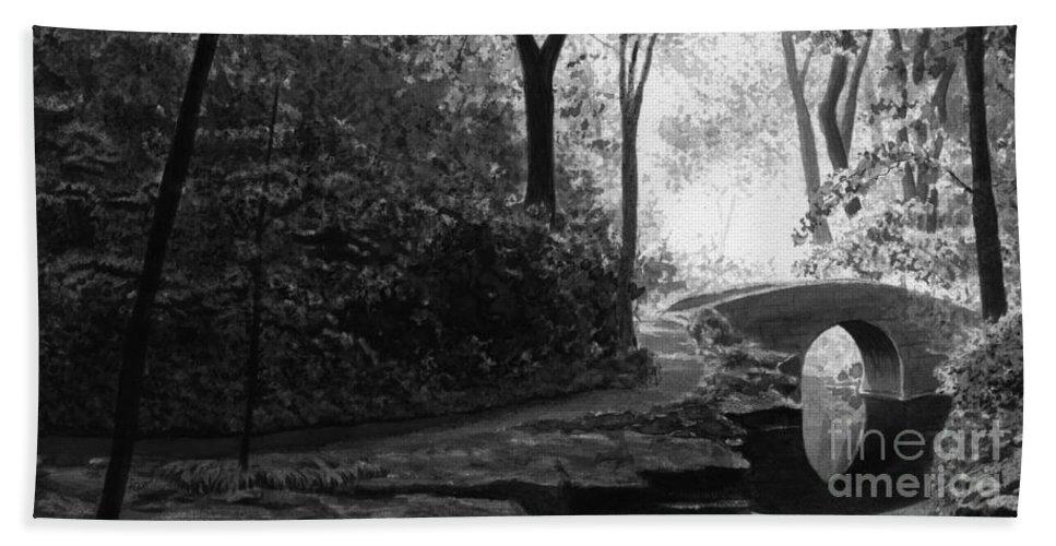 Black And White Beach Towel featuring the painting Oriental Garden by Lynn Quinn