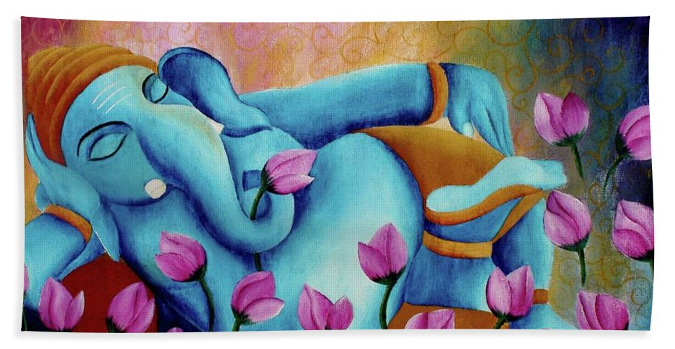 Original Colorful Bold Vibrant And Textured Sleeping Ganesha With