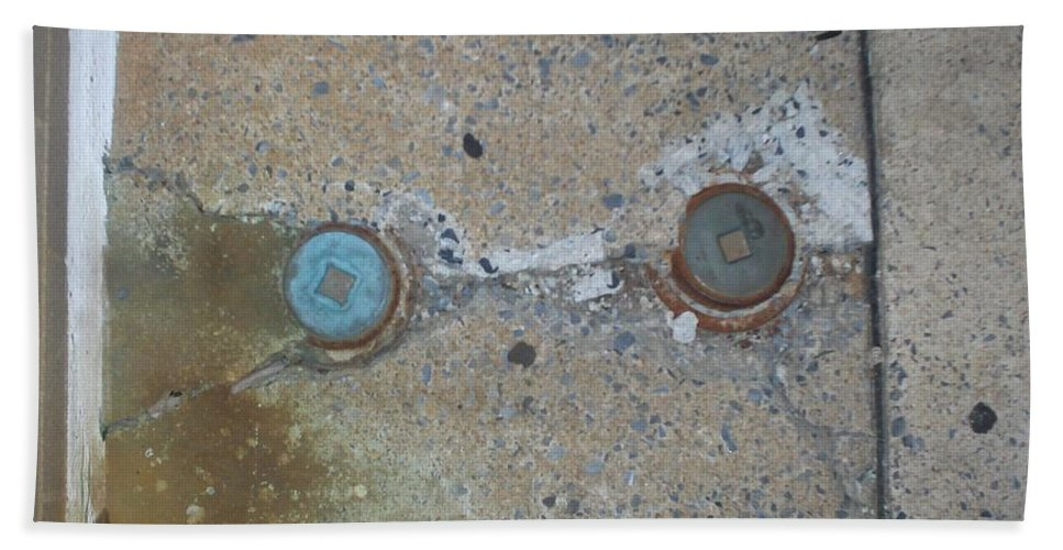 Photograph Beach Towel featuring the photograph Original Damaged Pipes by Thomas Valentine