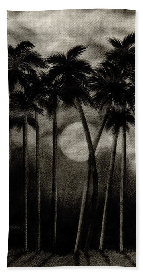 Original Moonlit Palm Trees Beach Towel featuring the drawing Original Moonlit Palm Trees by Larry Lehman