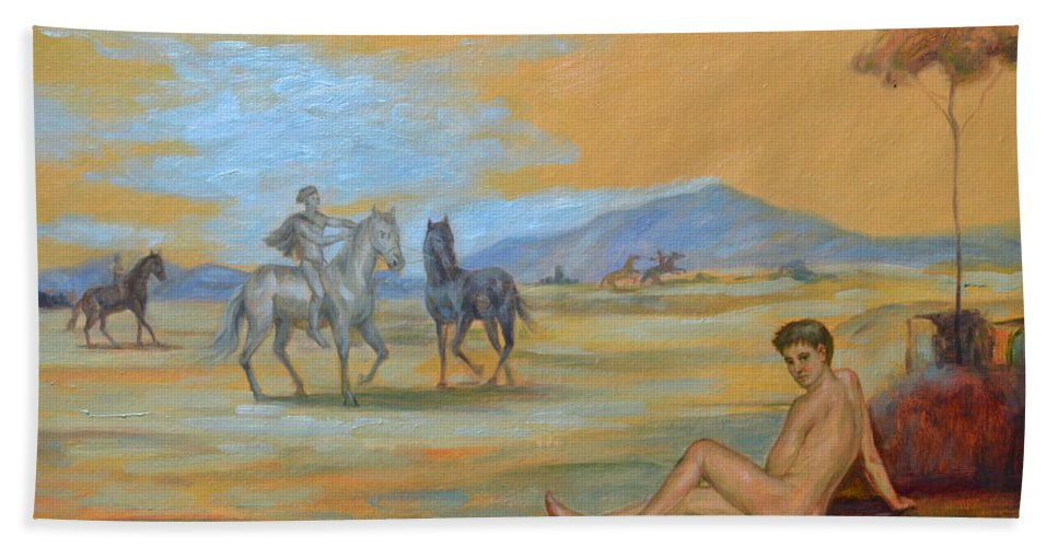 Original. Oil Painting Art Beach Towel featuring the painting Original Oil Painting Art Male Nude With Horses On Canvas #16-2-5 by Hongtao Huang