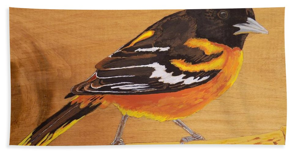 Baltimore Oriole Beach Towel featuring the painting Oriole 3 by Paul Bashore