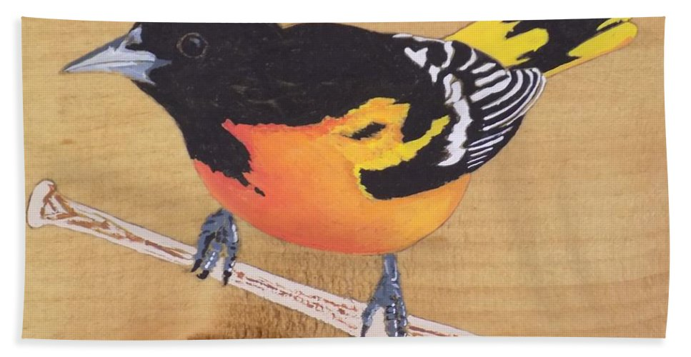 Baltimore Oriole Beach Towel featuring the painting Oriole 5 by Paul Bashore