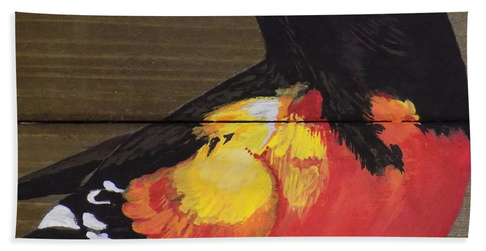 Baltimore Oriole Beach Towel featuring the painting Oriole 6 by Paul Bashore