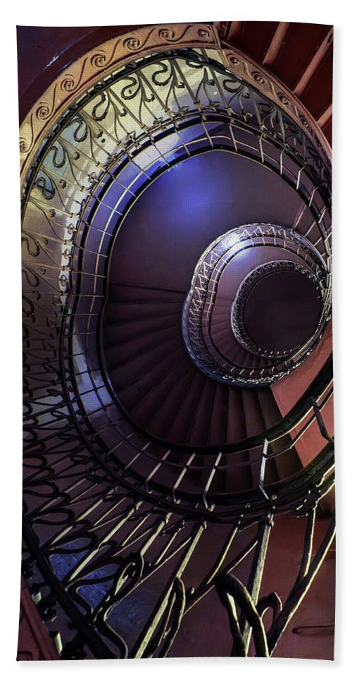 Architecture Beach Towel featuring the photograph Ornamented Metal Spiral Staircase by Jaroslaw Blaminsky