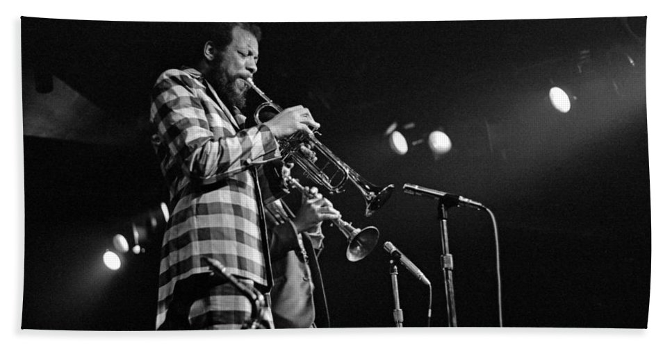 Ornette Colman Beach Towel featuring the photograph Ornette Coleman On Trumpet by Lee Santa