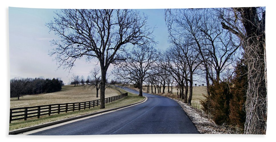 �osage County Road� Beach Towel featuring the photograph Osage County Road by Cricket Hackmann