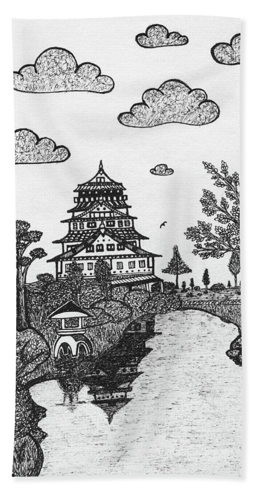 Castle Beach Towel featuring the drawing Osaka Castle by Nick Sheludiak