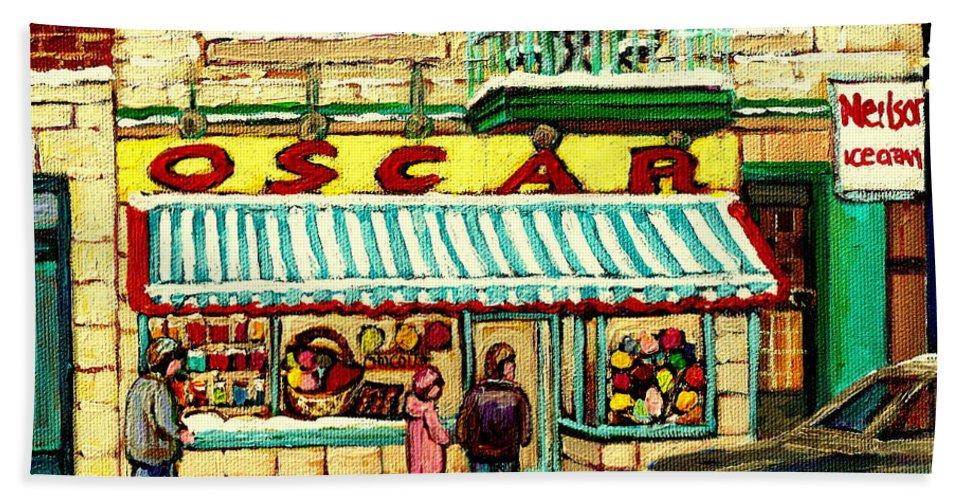 Oscar's Candy Store Montreal Beach Towel featuring the painting Oscar 's Candy Store Montreal by Carole Spandau