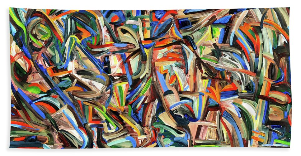 Abstract Beach Towel featuring the painting Other World by Gretchen Dreisbach