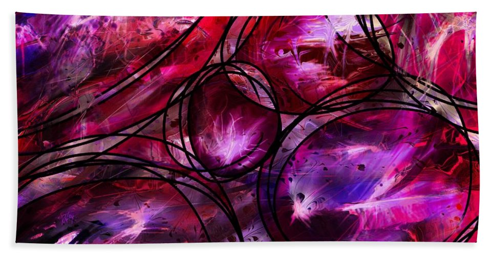 Abstract Beach Towel featuring the digital art Other Worlds by Rachel Christine Nowicki