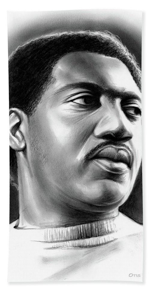 Otis Redding Beach Towel featuring the drawing Otis Redding by Greg Joens