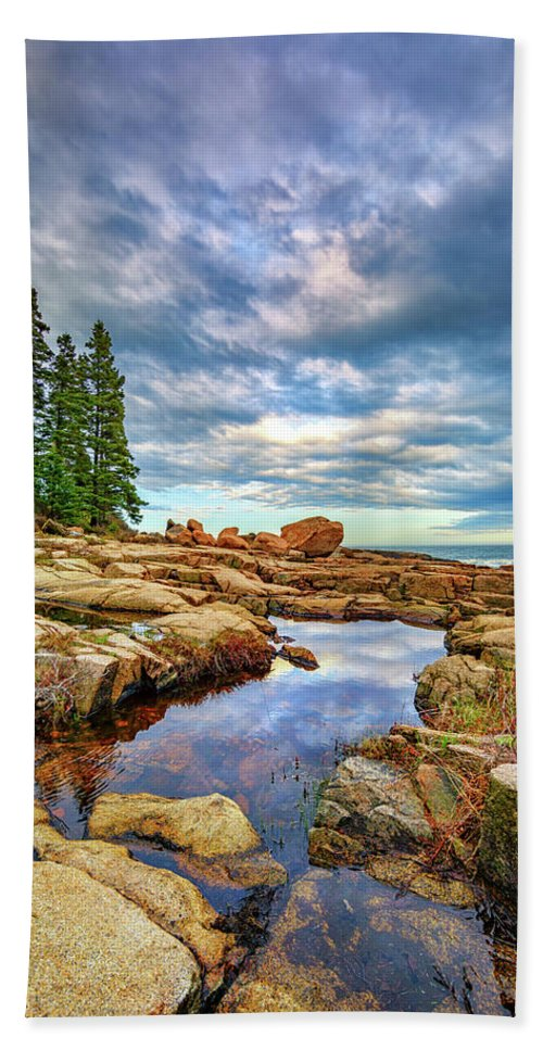 Maine Beach Towel featuring the photograph Otter Point Reflections by Rick Berk