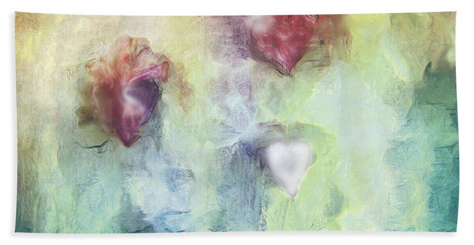 Our Hearts Beach Towel featuring the digital art Our Hearts by Linda Sannuti