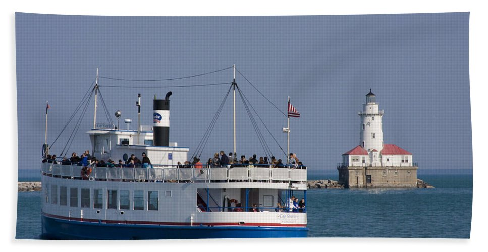 Boat Tour Tourism Tourist Attraction Chicago Windy City Ride Lighthouse Lake Michigan Water Sky Wake Beach Towel featuring the photograph Out For A Ride by Andrei Shliakhau