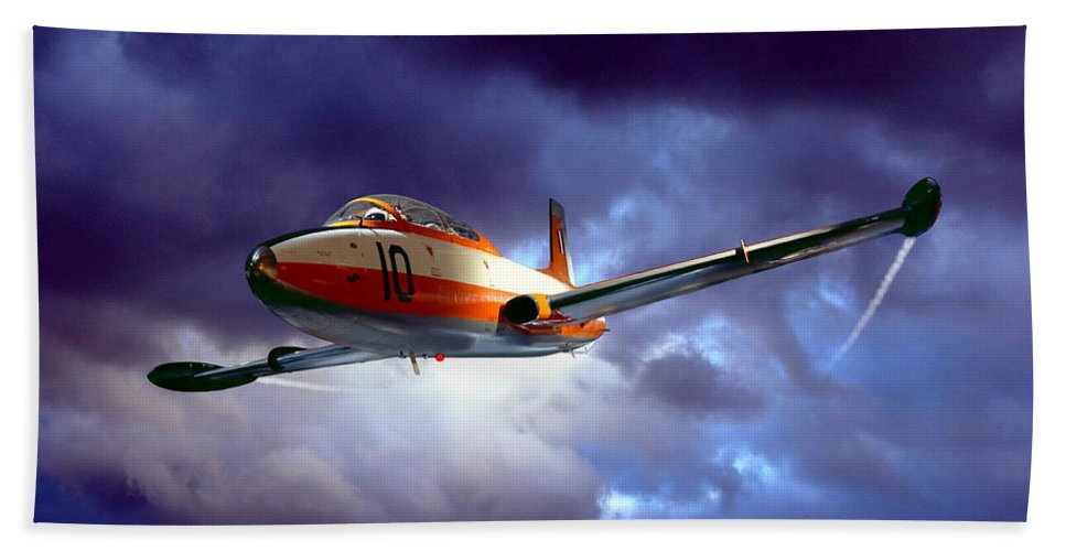 Plane Beach Towel featuring the photograph Out Of The Blue by Steven Agius