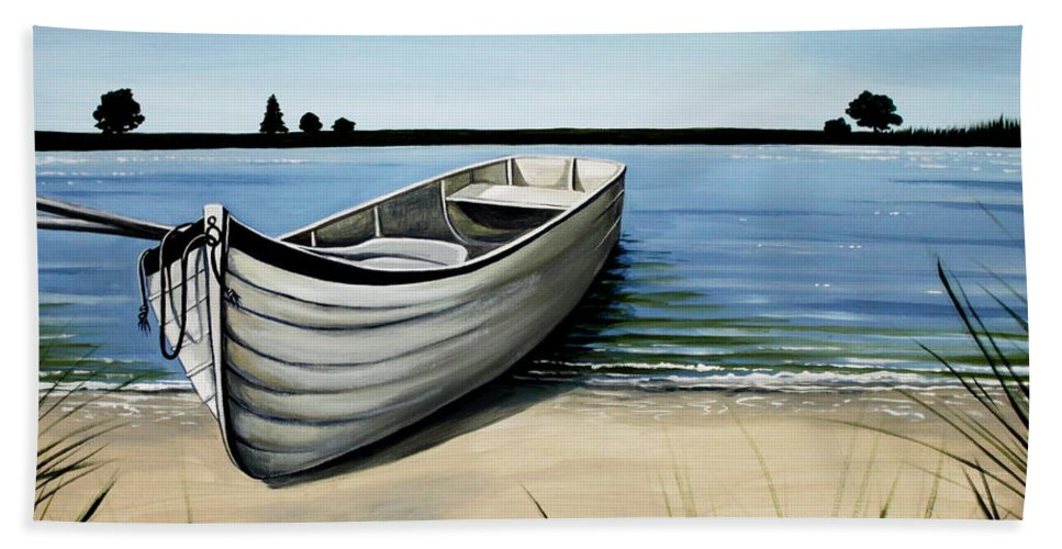 Boat Beach Towel featuring the painting Out on the Water by Elizabeth Robinette Tyndall