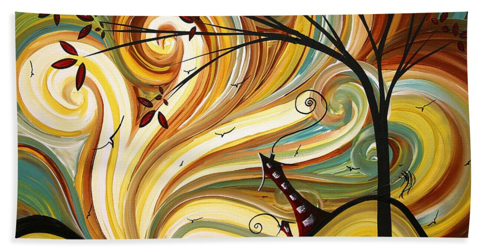 Art Beach Towel featuring the painting OUT WEST Original MADART Painting by Megan Duncanson