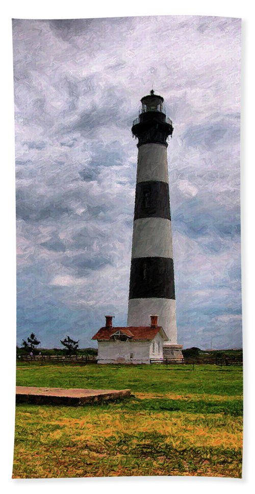 Lighthouse Beach Sheet featuring the photograph Outer Banks Beach Lighhouse by Randy Steele