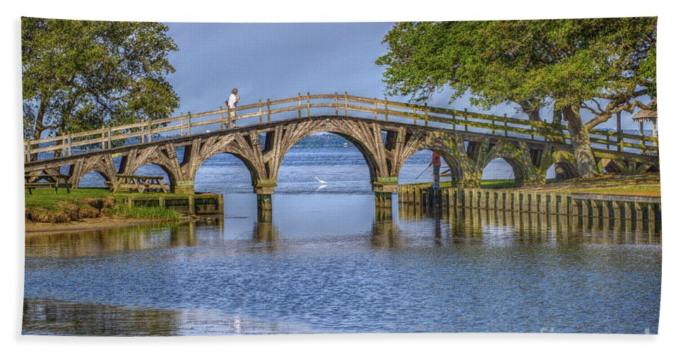 Summer Beach Towel featuring the photograph Outer Banks Whalehead Club Bridge by Randy Steele