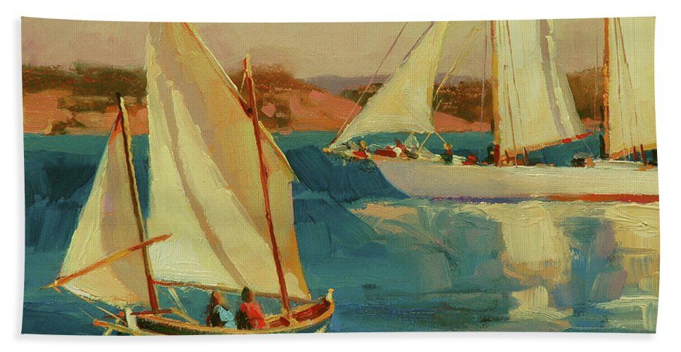 Sailboat Beach Towel featuring the painting Outing by Steve Henderson