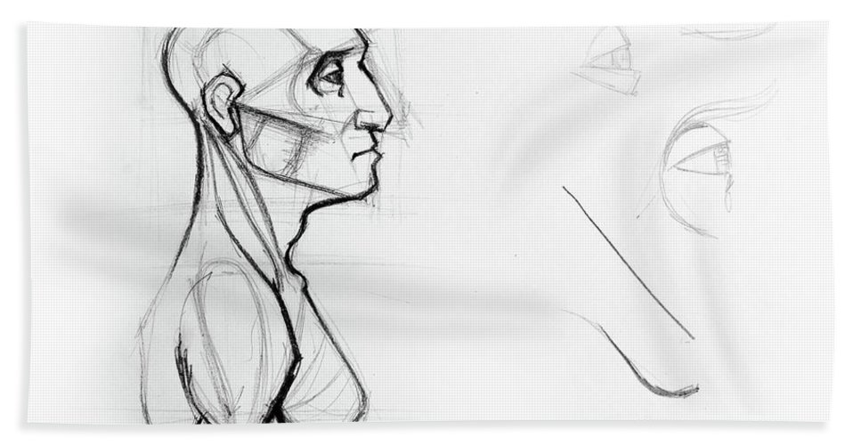 Outline Drawing Sketch Of Side Profile Of A Human Male Head And ...