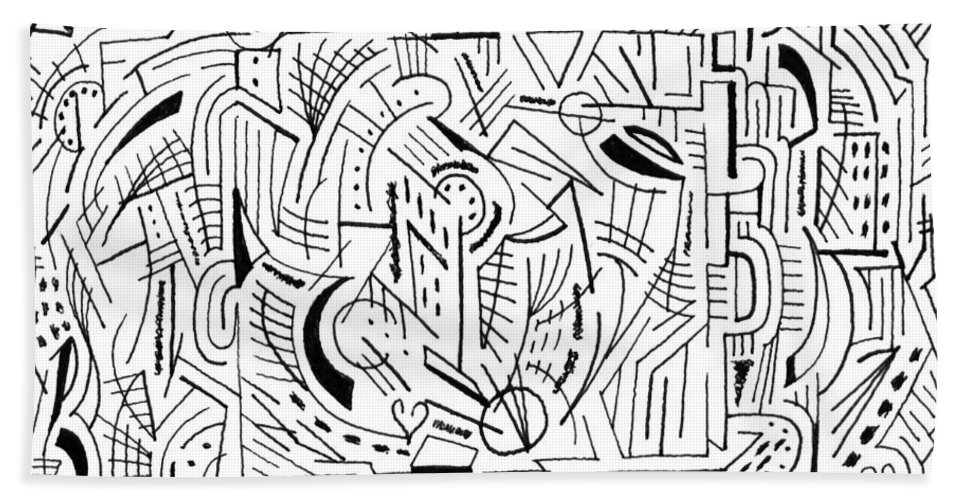 Mazes Beach Towel featuring the drawing Outside The Box by Steven Natanson