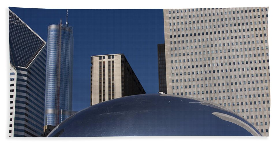 Chicago Windy City Wind Blue Sky Art Bean Building Skyscraper Tall High Big Large Reflection Beach Towel featuring the photograph Over The Bean by Andrei Shliakhau