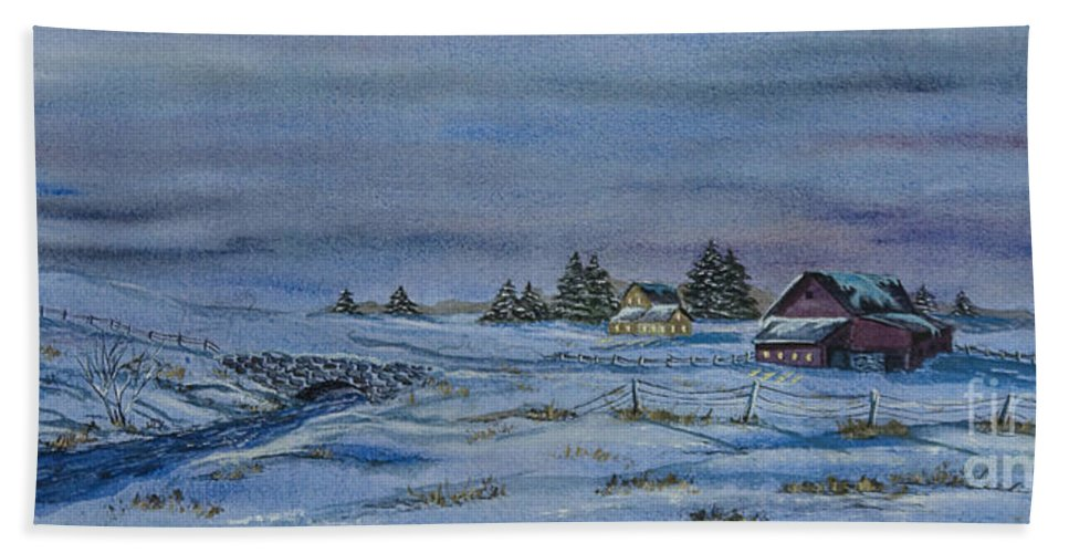 Winter Scene Paintings Beach Towel featuring the painting Over The Bridge And Through The Snow by Charlotte Blanchard