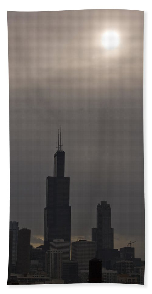Chicago Windy City Skyline Skyscraper Willis Tower Sears Urban Metro Sun Cloud Cloudy Beach Towel featuring the photograph Over The Willis Tower by Andrei Shliakhau