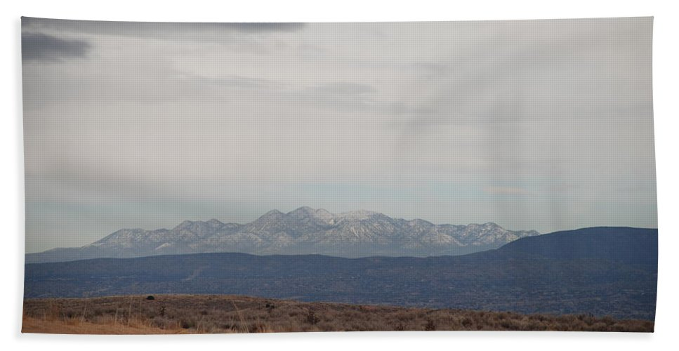 Mountains Beach Towel featuring the photograph Overcast On The Sandias by Rob Hans