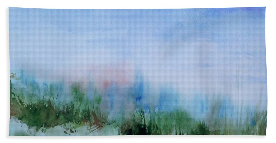 Landscape Beach Towel featuring the painting Overlook by Suzanne Udell Levinger