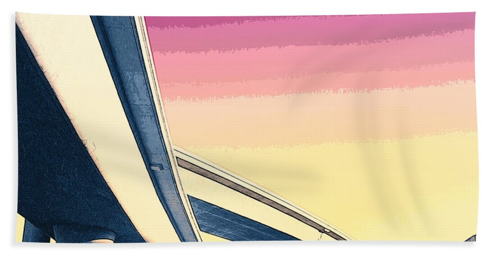 Overpass Beach Towel featuring the mixed media Overpass One by Dominic Piperata