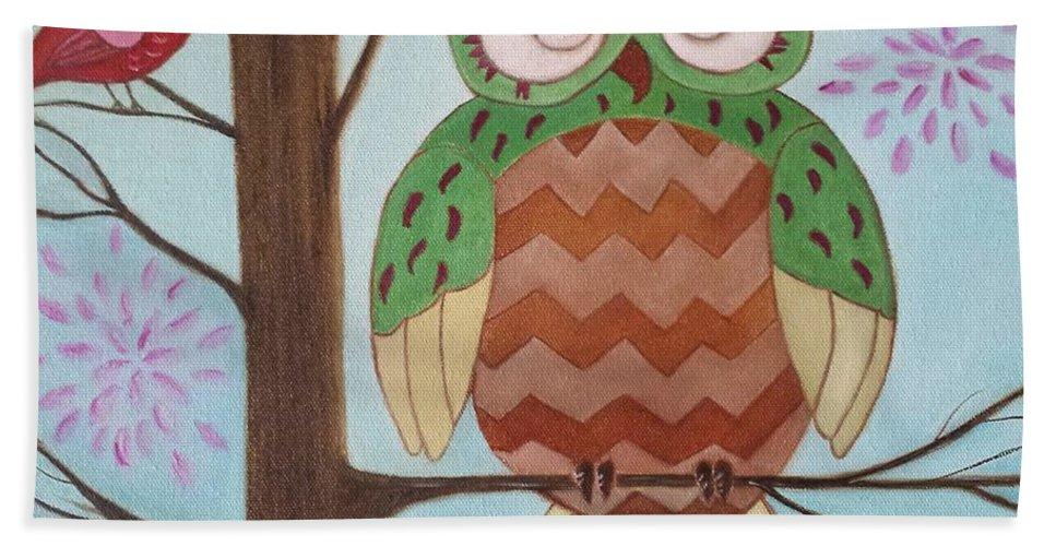 Owl Beach Towel featuring the painting Owl Art by Judy Jones