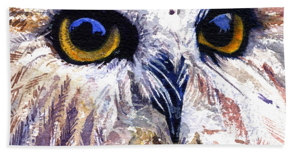 Eye Beach Towel featuring the painting Owl by John D Benson