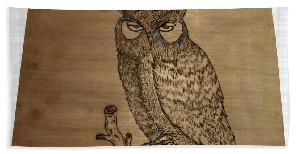 Beach Towel featuring the pyrography Owl Pyrography by Thomas Cunningham