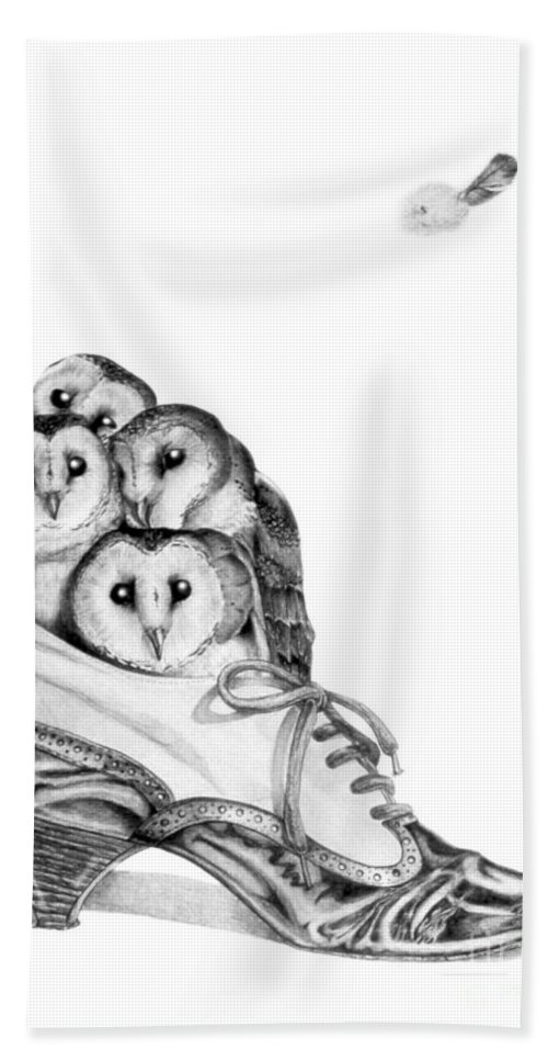 Owl Beach Towel featuring the painting Owls In A Shoe by Melissa A Benson