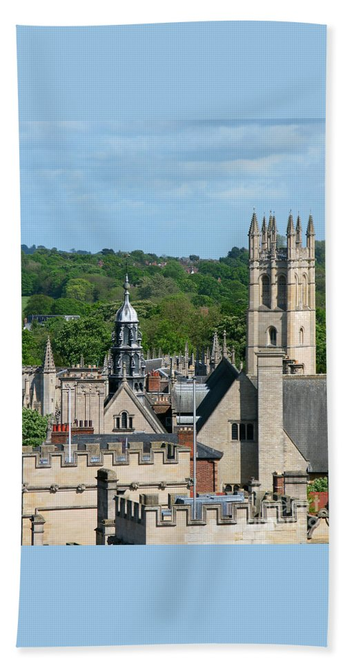 Oxford Beach Towel featuring the photograph Oxford Tower View by Ann Horn