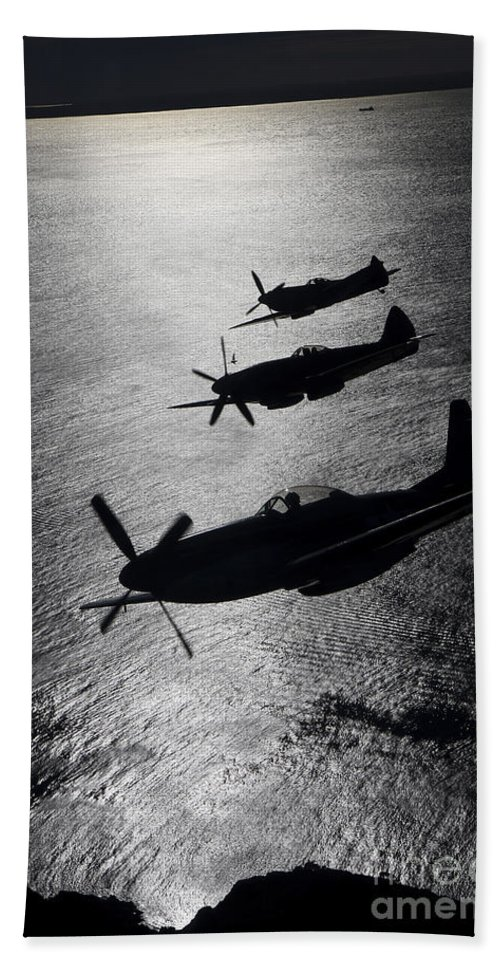 Transportation Beach Towel featuring the photograph P-51 Cavalier Mustang With Supermarine by Daniel Karlsson