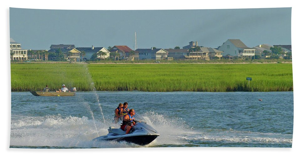 Murrells Inlet Beach Towel featuring the photograph P8038801 Jet Skis by Stephen Ham