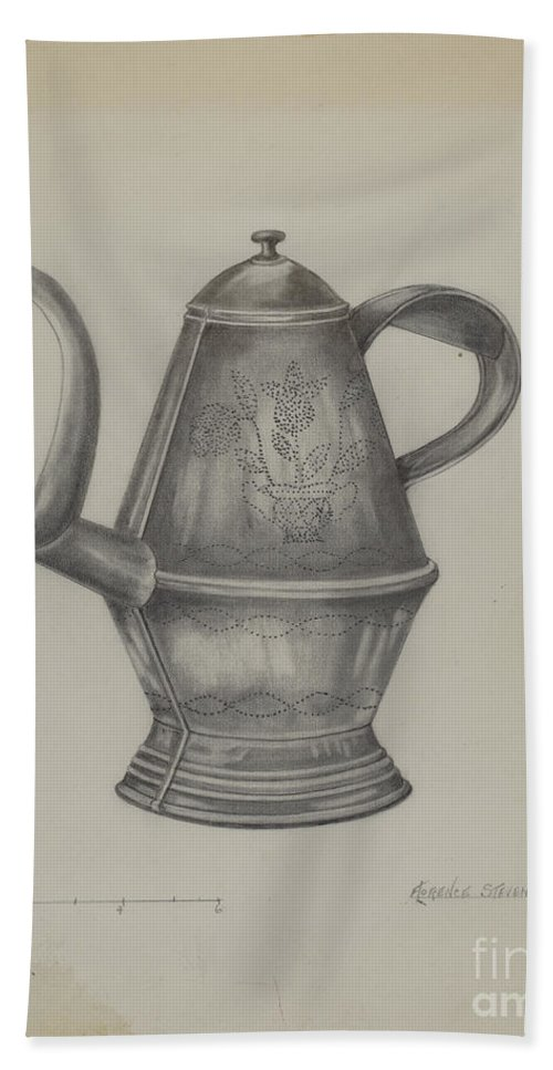 Beach Towel featuring the drawing Pa. German Coffee Pot by Florence Stevenson