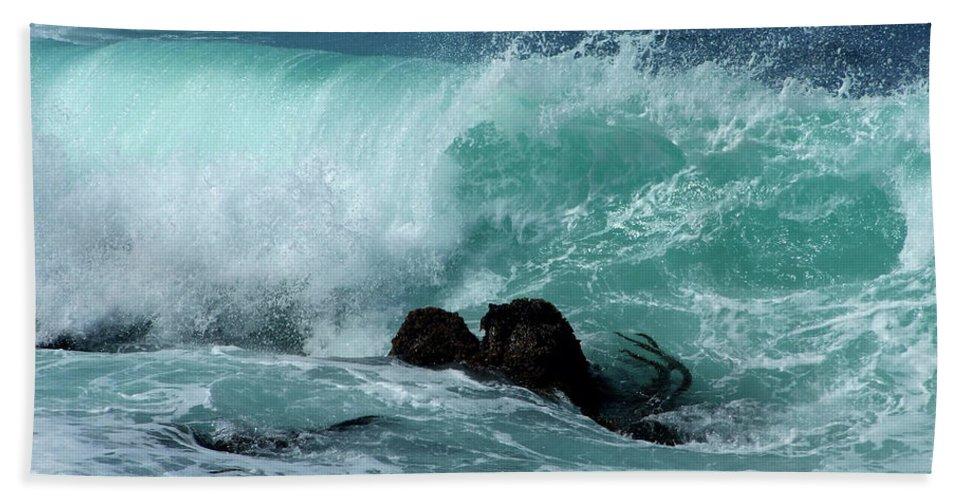 Artoffoxvox Beach Towel featuring the photograph Pacific Coast Crashing Wave Photograph by Kristen Fox