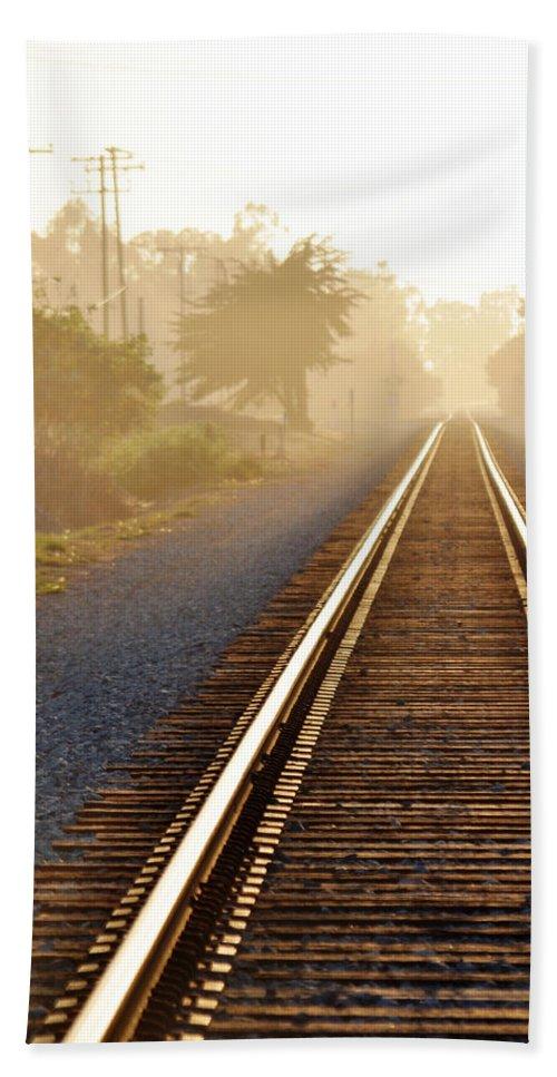Pacific Coast Starlight Beach Towel featuring the photograph Pacific Coast Starlight Railroad by Kyle Hanson