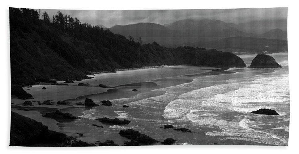 Beach Beach Towel featuring the photograph Pacific Ocean Moody Scenic by Sally Weigand