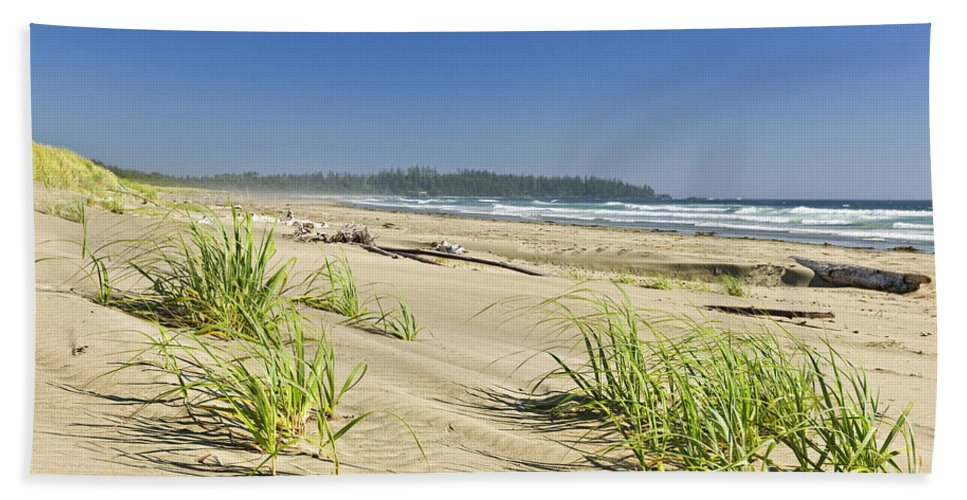 Pacific Beach Towel featuring the photograph Pacific Ocean Shore On Vancouver Island by Elena Elisseeva